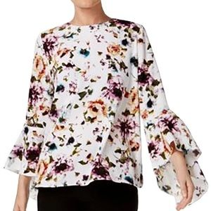 Trendy Floral Button Back Bell Sleeve Blouse